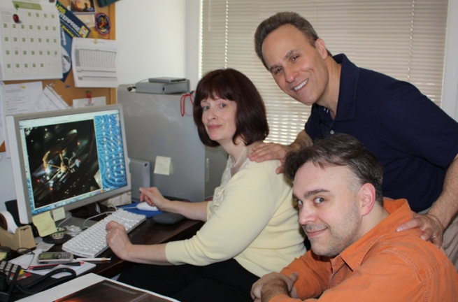 Clockwise from left: Star Trek books editor Margaret Clark, noted CGI artist Doug Drexler, and mildly crazed-looking author David Mack.