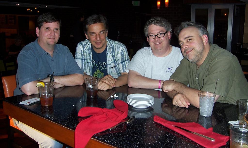Photo of Dayton Ward, Marco Palmieri, Kevin Dilmore, and David Mack