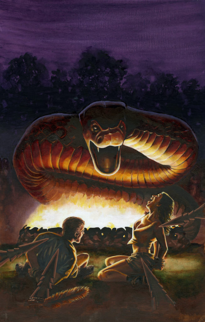 giant snake in fire pit threatens man and woman